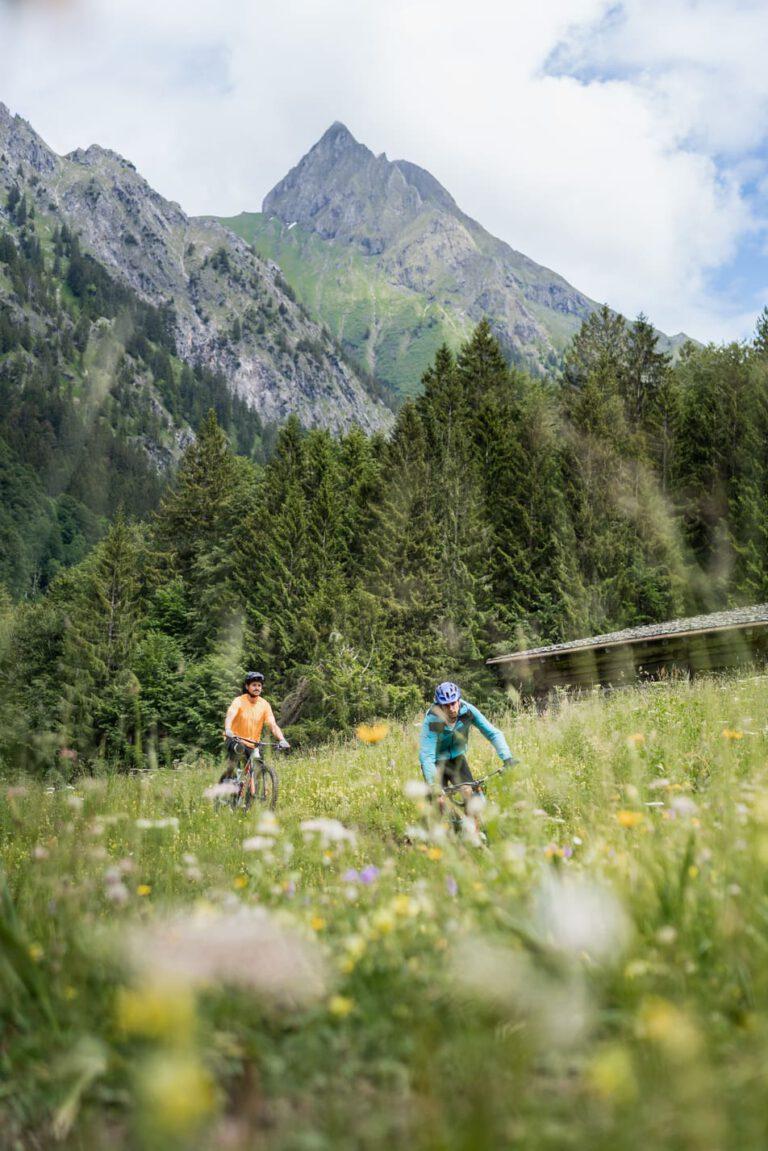 Zwei Mountainbiker fahren durch eine Wiese